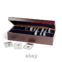 2 Lighthouse Mahogany Wood Finish Storage Boxes fr 50 Certified Graded Coin Slab