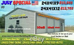 20x36x9 Boxed Eave Certified 140mph Free Delivery & Setup