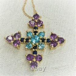 CERTIFIED Exotic Multi-Gemstone 14K Yellow Gold Cross Pendant WITH BOX CHAIN
