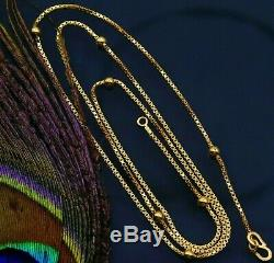 Certified 22kt Yellow Gold Solid Box Chain With Ball Necklace Gifting Jewelry