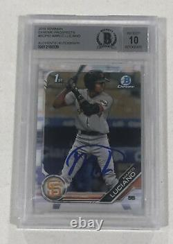 Marco Luciano SIGNED 2019 Bowman Chrome BECKETT CERTIFIED 10 Auto Giants Card